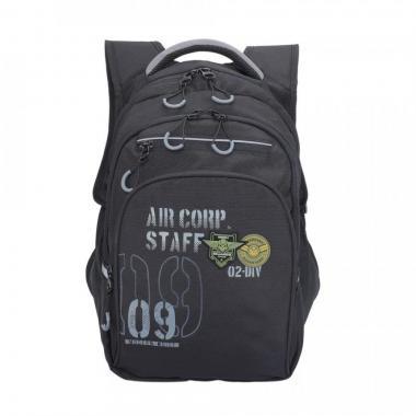 Рюкзак школьный GRIZZLY для мальчика (черный/серый)