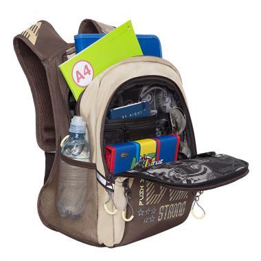 Рюкзак школьный GRIZZLY для мальчика (коричневый)