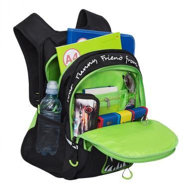 Рюкзак школьный GRIZZLY для мальчика (черный/салатовый)