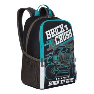 Рюкзак школьный GRIZZLY для мальчика (черный/бирюзовый)