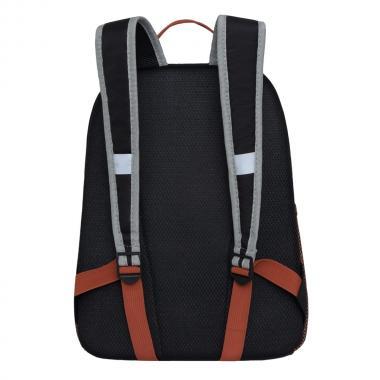 Рюкзак школьный GRIZZLY для мальчика (черный/терракотовый)