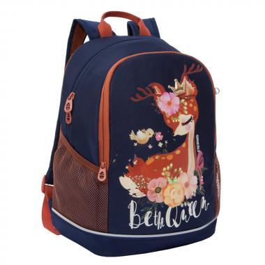 Школьный рюкзак для девочек GRIZZLY (темно-синий)