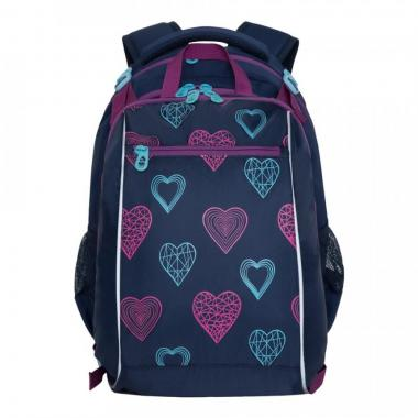 Рюкзак школьный GRIZZLY для девочки (синий)