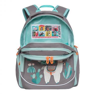 Рюкзак школьный GRIZZLY для девочки (светло-серый)