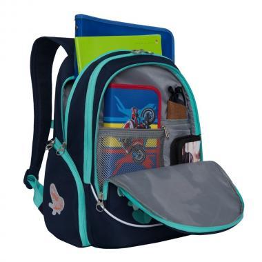 Рюкзак школьный GRIZZLY для девочки (темно-серый)