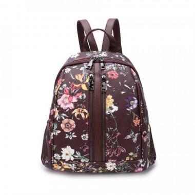 Женский рюкзак из экокожи Ors Oro (цветы на горьком шоколаде)