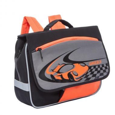 Детский рюкзак для мальчика GRIZZLY (черный - серый - оранжевый)