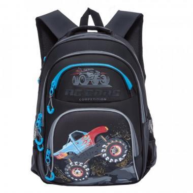 Школьный рюкзак для мальчика Grizzly (черный-голубой)