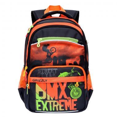 Школьный рюкзак для мальчика GRIZZLY (черный-оранжевый)