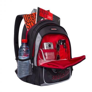 Школьный рюкзак для мальчика Grizzly (черный-серый)
