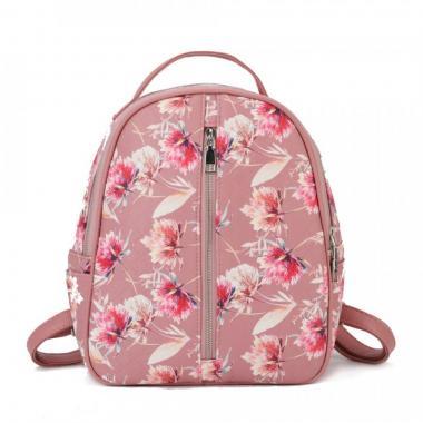 Женский рюкзак из экокожи Ors Oro (цветы на розовом)