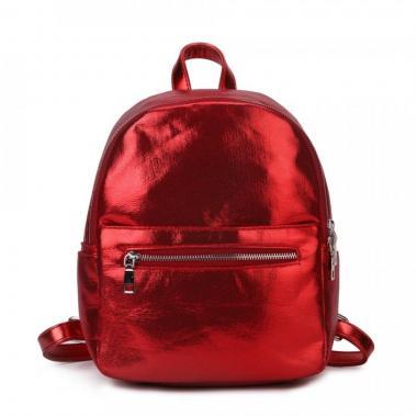 Женский рюкзак из экокожи Ors Oro (красный глиттер)