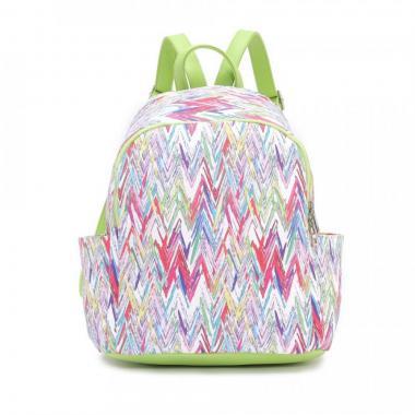 Женский рюкзак из экокожи Ors Oro (цветные зигзаги на белом)