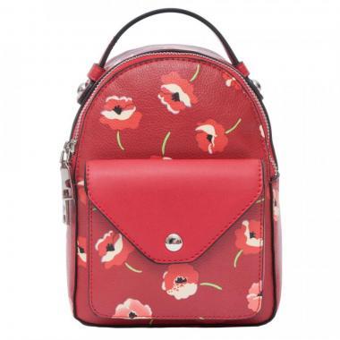Женский рюкзак из экокожи Ors Oro (красный с маками)