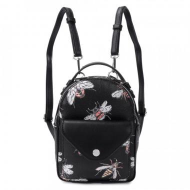 Женский рюкзак из экокожи Ors Oro (черный с пчелами)