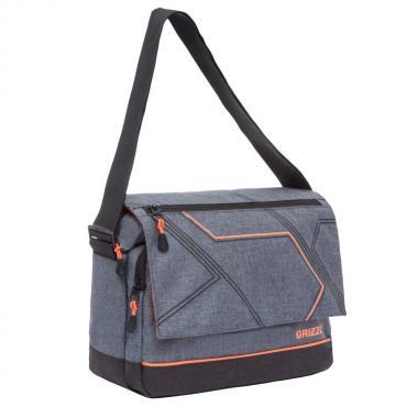 Мужская молодёжная сумка Grizzly (серый/оранжевый)