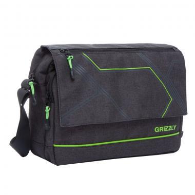 Мужская молодёжная сумка Grizzly (черный/салатовый)