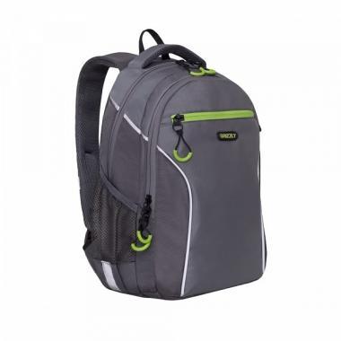 Школьный рюкзак для мальчика GRIZZLY (серый/т.серый)