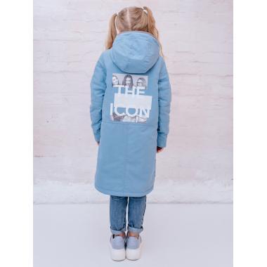 Весенняя куртка-парка БАТИК для девочки АКУЛИНА (голубой), 8 - 14 лет