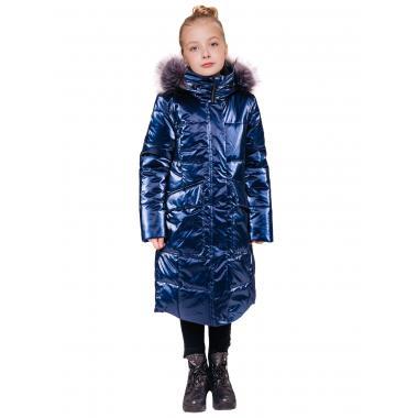 Зимнее пальто БАТИК для девочки РОБИ (синий), 8-14 лет