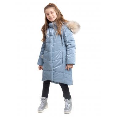 Зимнее пальто БАТИК для девочки ЛЕЯ (серо-голубой), 6 - 9 лет