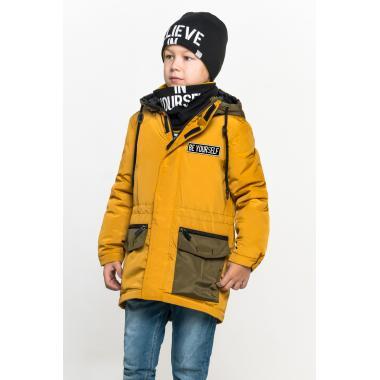 Демисезонная куртка BOOM! by Orby для мальчика (горчичный/хаки), 3-15 лет