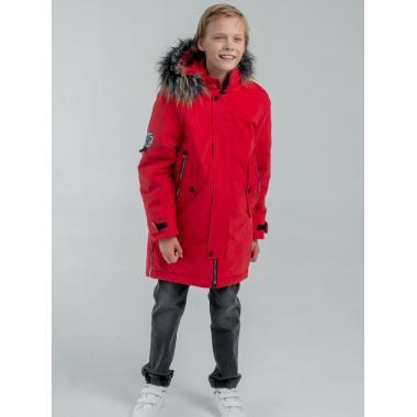 Зимняя парка EMSON  для мальчика ОЛИВЕР (красный), 7-14 лет