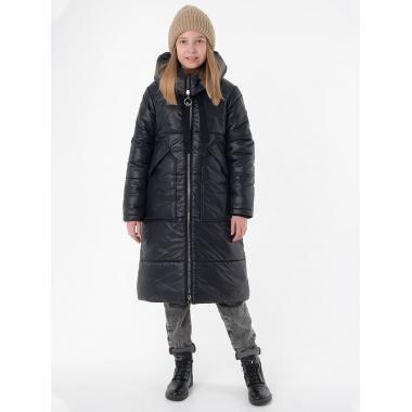 Зимнее пальто САНДРА для девочки EMSON (черный), 7-12 лет