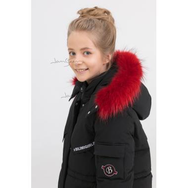 Зимнее пальто для девочки BILEMI (черный), 7-11 лет