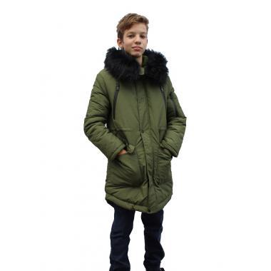 Зимнее пальто JEANEES для мальчика АДРИАНО (хаки) 11 - 14 лет