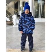 Демисезонный комплект LAPLAND для мальчика БУКВЫ (синий/василек), 5 - 9 лет