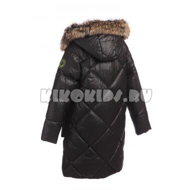 Зимнее пальто для девочки Levin Force (черный/салатовый), 10 - 14 лет