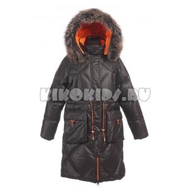 Зимнее пальто для девочки Levin Force (черный/оранжевый), 10 - 14 лет