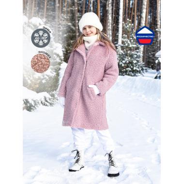 Зимнее пальто из искусственного меха для девочки NIKASTYLE (пудровый), 8-15 лет