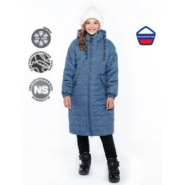 Зимнее пальто для девочки NIKASTYLE (джинсовый), 8-15 лет