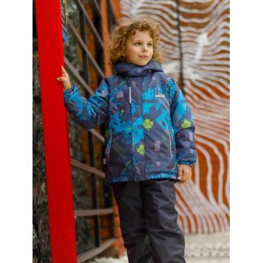 Зимний комплект SELEO для мальчика LEO (серый/бирюзовый), 4 - 8 лет