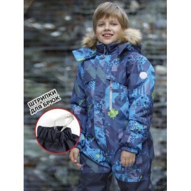 Зимний комбинезон SELEO для мальчика BLAKE (серо-голубой/оливковый), 5 - 8 лет