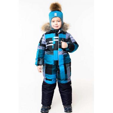 Зимний комбинезон STELLA KIDS для мальчика ШОТЛАНДИЯ (голубой), 3-6 лет