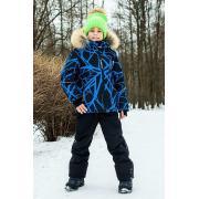 Зимний комплект STELLA KIDS для мальчика ПАУТИНА (черный/синий), 6 - 11 лет