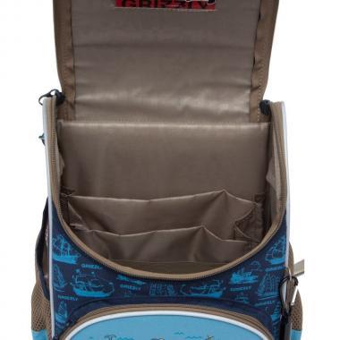 Школьный рюкзак с мешком для мальчика Grizzly  (синий - голубой)