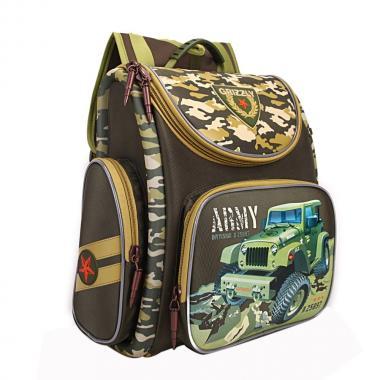 Школьный рюкзак с мешком для мальчика Grizzly (оливковый)