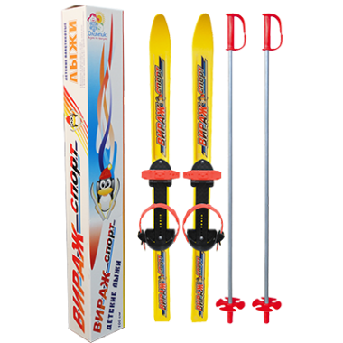Детские лыжи Вираж спорт, в комплекте с палками