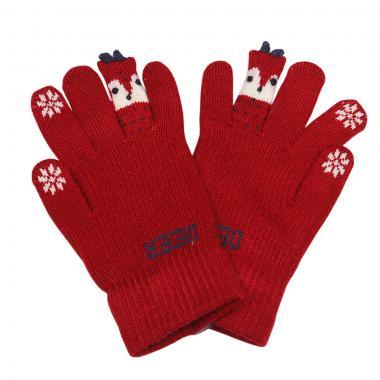 """Зимние перчатки Корона с рисунком """"DEER"""" (бордо), 6-8 лет"""