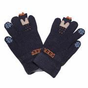 """Зимние перчатки Корона с рисунком  """"DEER"""" (синий), 4-6 лет"""