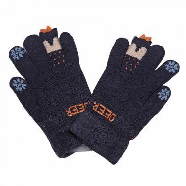 """Зимние перчатки Корона с рисунком  """"DEER"""" (синий), 6-8 лет"""