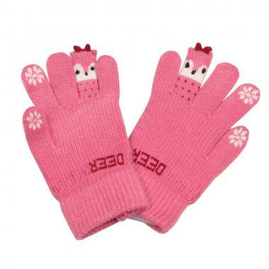 """Зимние перчатки Корона для девочки """"DEER"""" (розовый), 6-8 лет"""