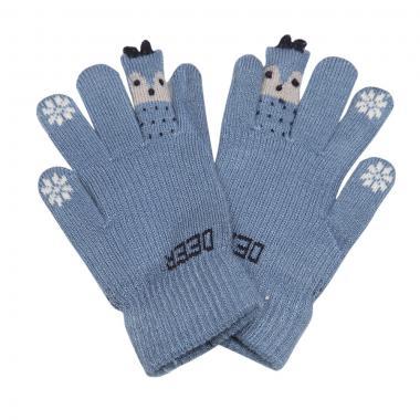 """Зимние перчатки Корона с рисунком """"DEER"""" (серо-голубой), 6-8 лет"""