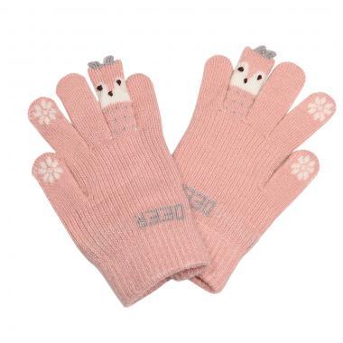 """Зимние перчатки Корона для девочки """"DEER"""" (пудра), 6-8 лет"""