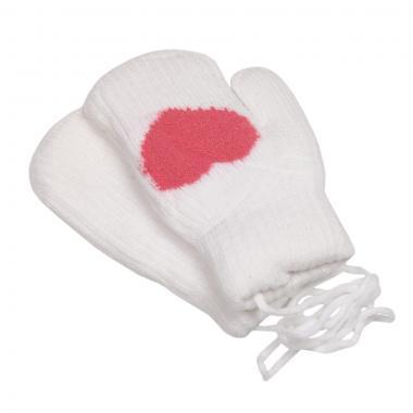 Зимние варежки для девочки на меху  Сердечко (белый), 6-8 лет
