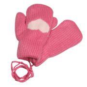 Зимние варежки для девочки на меху  Сердечко (розовый), 6-8 лет
